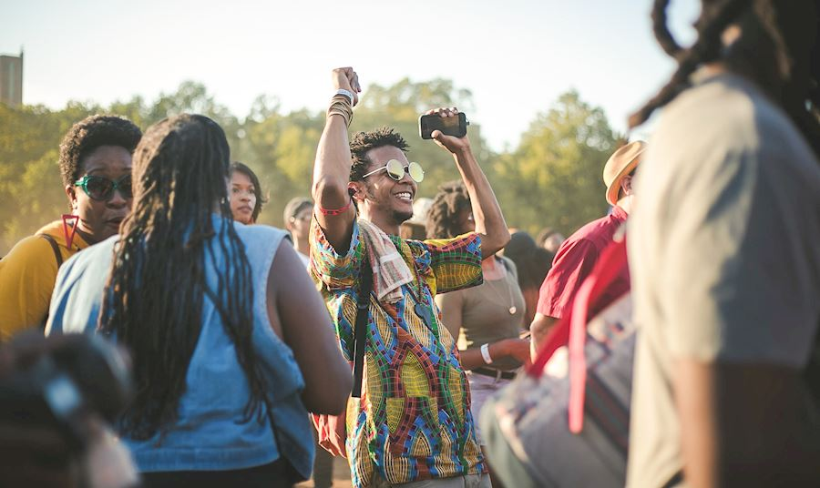 Man having fun at a music festival